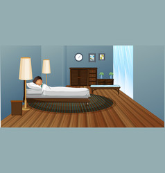 little boy sleeping in bedroom vector image