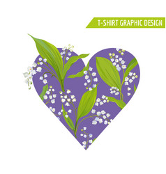 Love romantic floral heart design for prints vector