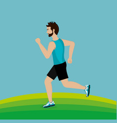 man running in the landscape vector image