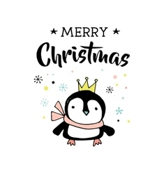 Merry Christmas greeting card with penguin vector