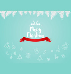 merry christmas with logo hand draw vector image
