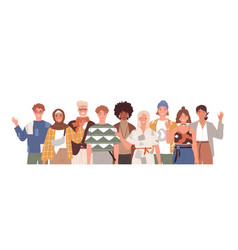 multicultural group diverse people waving vector image