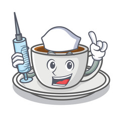 nurse coffee character cartoon style vector image