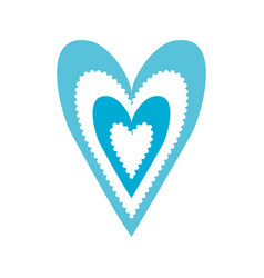 paper blue heart love romance passion decoration vector image