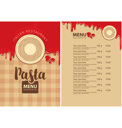 Pasta menu for italian restaurant with pasta nests vector