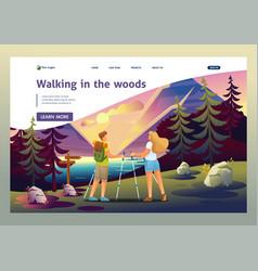People walking in woods doing nordic walking vector