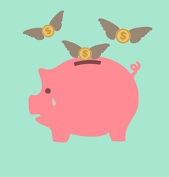 Piggy Bank Cry When See Dollars Flying Away vector image