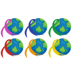 Planet earth and different color ribbons vector