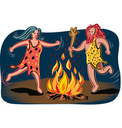 Primitive couple dancing around the fire vector