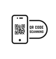 qr code scanning like linear black phone vector image