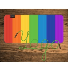 rainbow yoga mat vector image