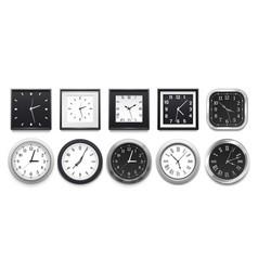 Realistic clock modern white round wall clocks vector