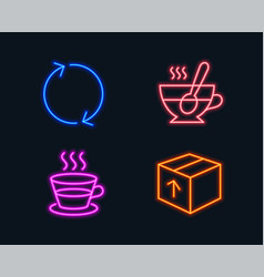 refresh coffee cup and tea cup icons package vector image