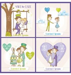 save date wedding card set vector image