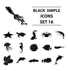 Sea animals set icons in black style big vector