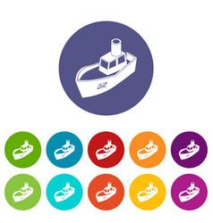 sea ship delivery icons set color vector image