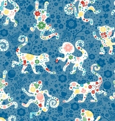 Seamless monkey pattern with flowers vector image