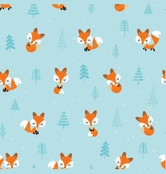 seamless pattern with cute little foxes vector image
