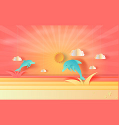 seascape view with jumping dolphin and clouds at vector image