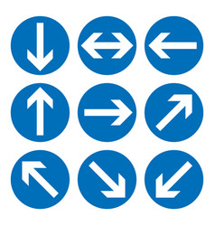 set of direction signs blue circle mandatory vector image