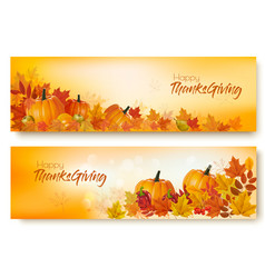 set of happy thanksgiving banners with autumn vector image