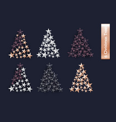 set of rose gold gold silver christmas tree of vector image