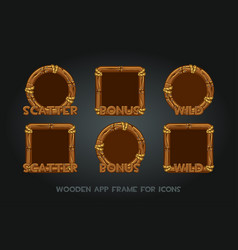 set wooden app icons old frames vector image