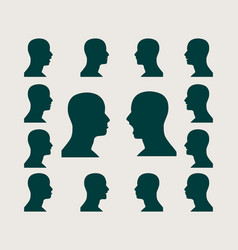Silhouettes collection of a mans head vector