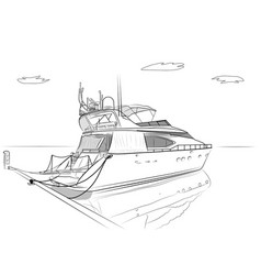 Sketch white yachts vector