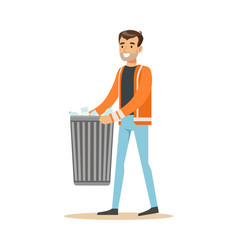 smiling man arrying garbage bin waste recycling vector image