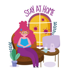 Stay at home young woman with computer vector