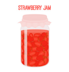 strawberry jam in mason jar canned vector image