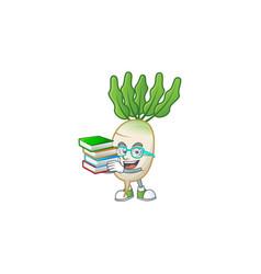 Student with book daikon on mascot cartoon vector
