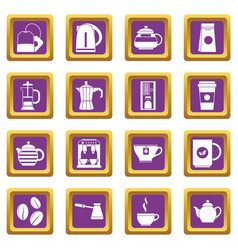 tea and coffee icons set purple vector image