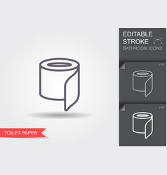 Toilet paper line icon with editable stroke with vector
