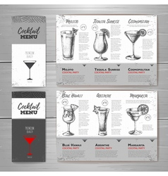 Vintage cocktail menu design vector image
