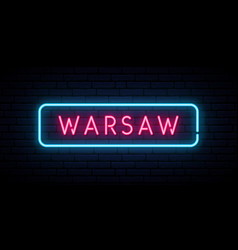 warsaw neon sign bright light signboard banner vector image