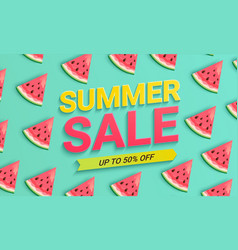 Watermelon sale banner for summer 2021 vector