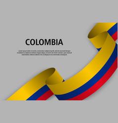 Waving ribbon with flag vector