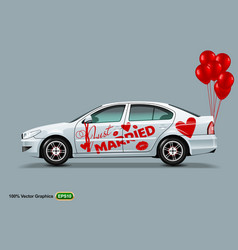white car with red balloons isolated on a grey vector image