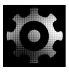 white halftone gear icon vector image