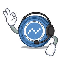 With headphone nano coin mascot cartoon vector