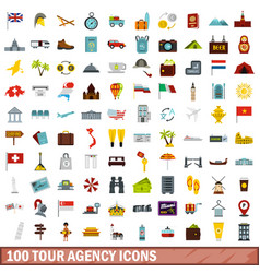 100 tour agency icons set flat style vector image