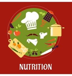 Chef prepares vegetarian salad vector image vector image
