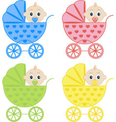 collection of baby carriages vector image
