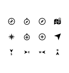 Compass icons on white background vector image vector image