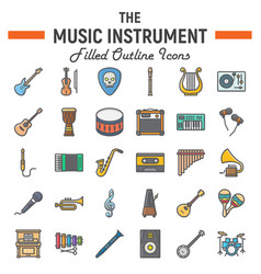 music instruments filled outline icon set vector image vector image
