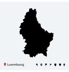 High detailed map of Luxembourg with navigation vector image