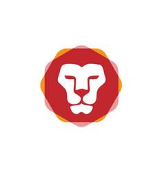 lion head hexagon color vector image
