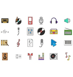 Music colorful icons set vector image